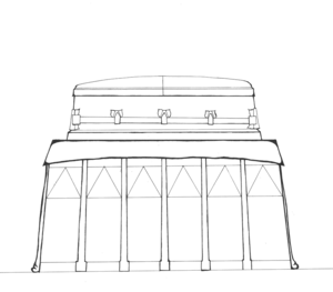 Illustration of shiny casket in show room.