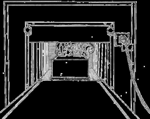 Illustration of casket burning during cremation