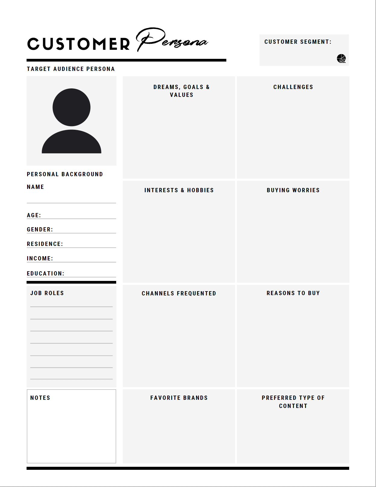 Customer Persona Template for Small Business Owners