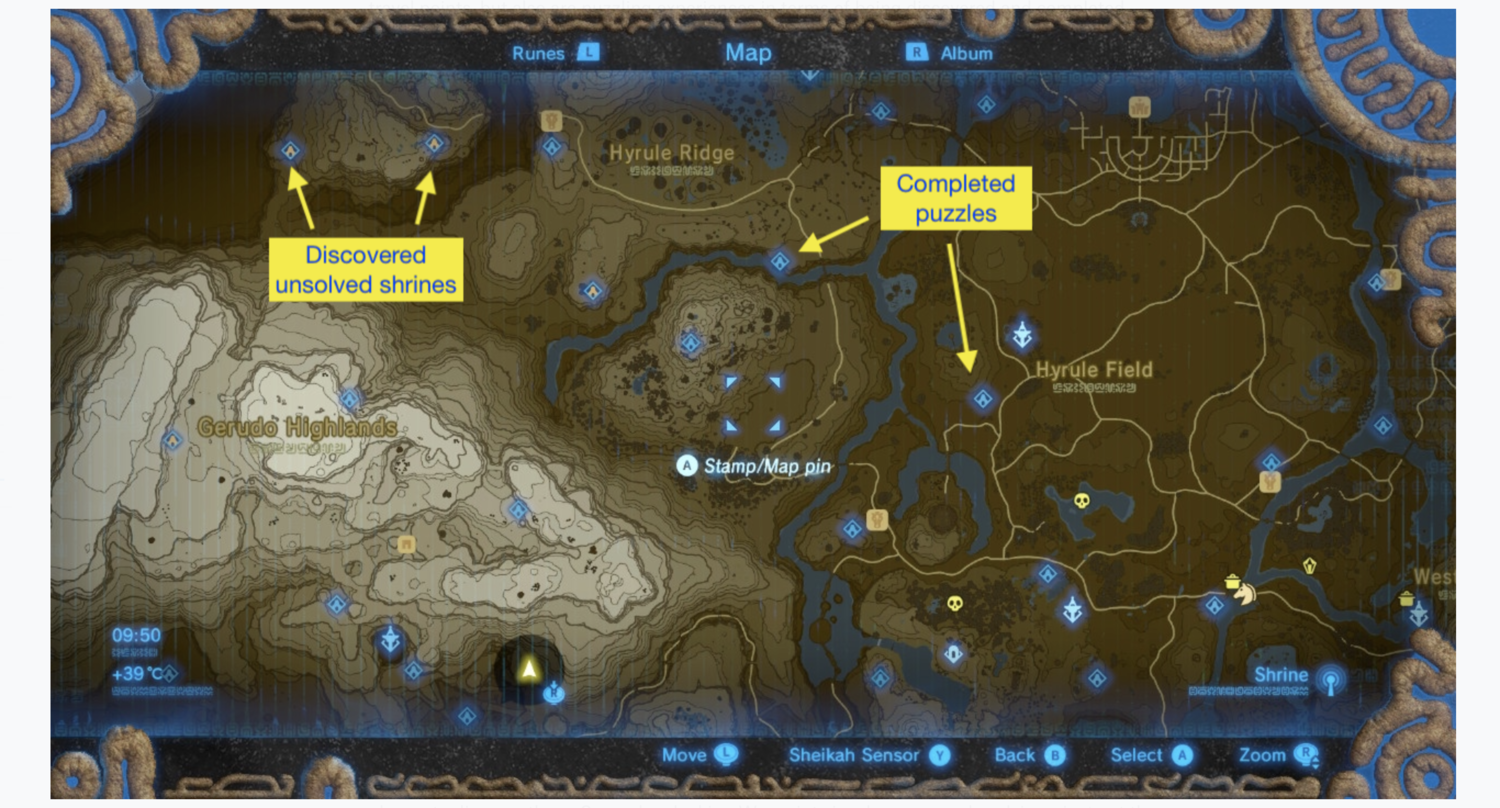 A gameplay screenshot of BoTW's Shrine system.