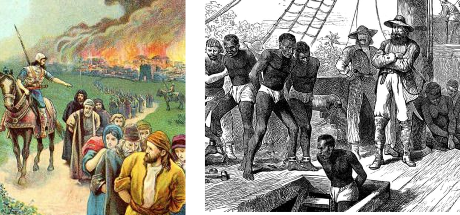 The exodus of the Hebrews by the Babylonians and the transportation of African peoples by the British both show the imperial nature of civilisation.
