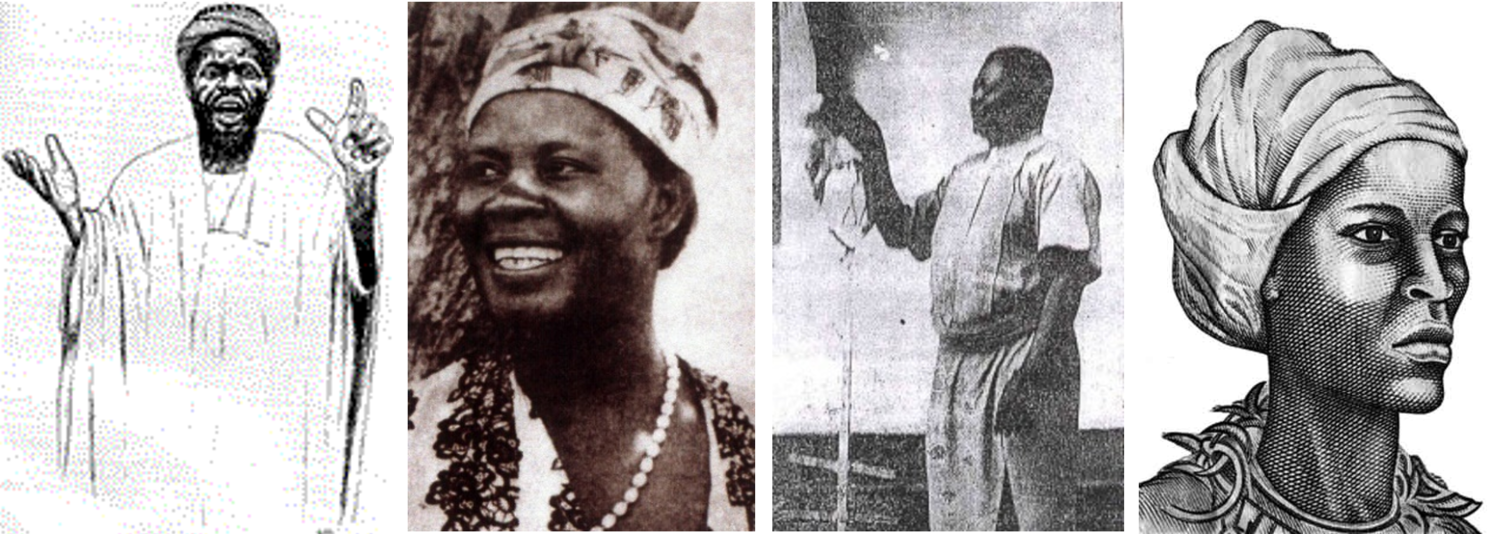 Left to Right: Haidara of Sierra Leone, Alice Lenshina of Zambia, Simon Kimbangu of the Congo, Nanny of the Maroons (Jamaica). It's worth remembering that individual leaders weren't the ones who changed history: society itself and the organisation of ordinary people was, and these are just the leaders who emerged from the people.