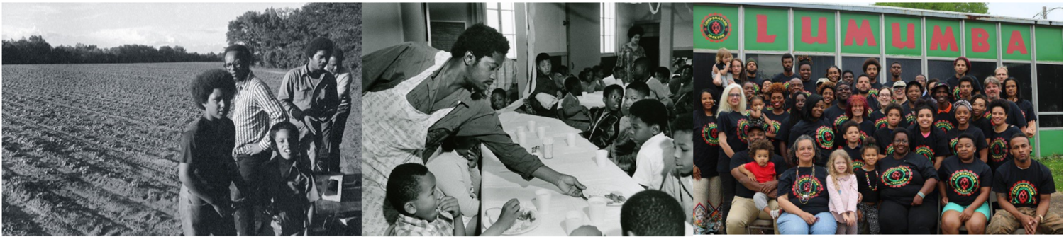 Left: New Communities Movement Inc. who created the first African American land trust of 6000 acres in 1971. Middle: The Black Panthers' free breakfast programme for African American children. Right: Cooperation Jackson, building a solidarity economy for black communities in Jackson Mississippi.