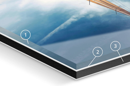 Crystalline acrylic glass in 2, 4 or 6 mm    Durably elastic photo print & silicone    3mm Dibond Aluminum Plate
