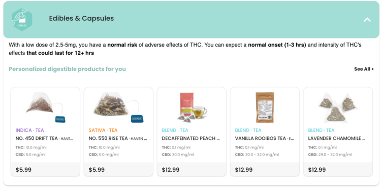 Personalized cannabis edible & capsule product suggestions for a    LoboJane.com    user with Normal THC Metabolism