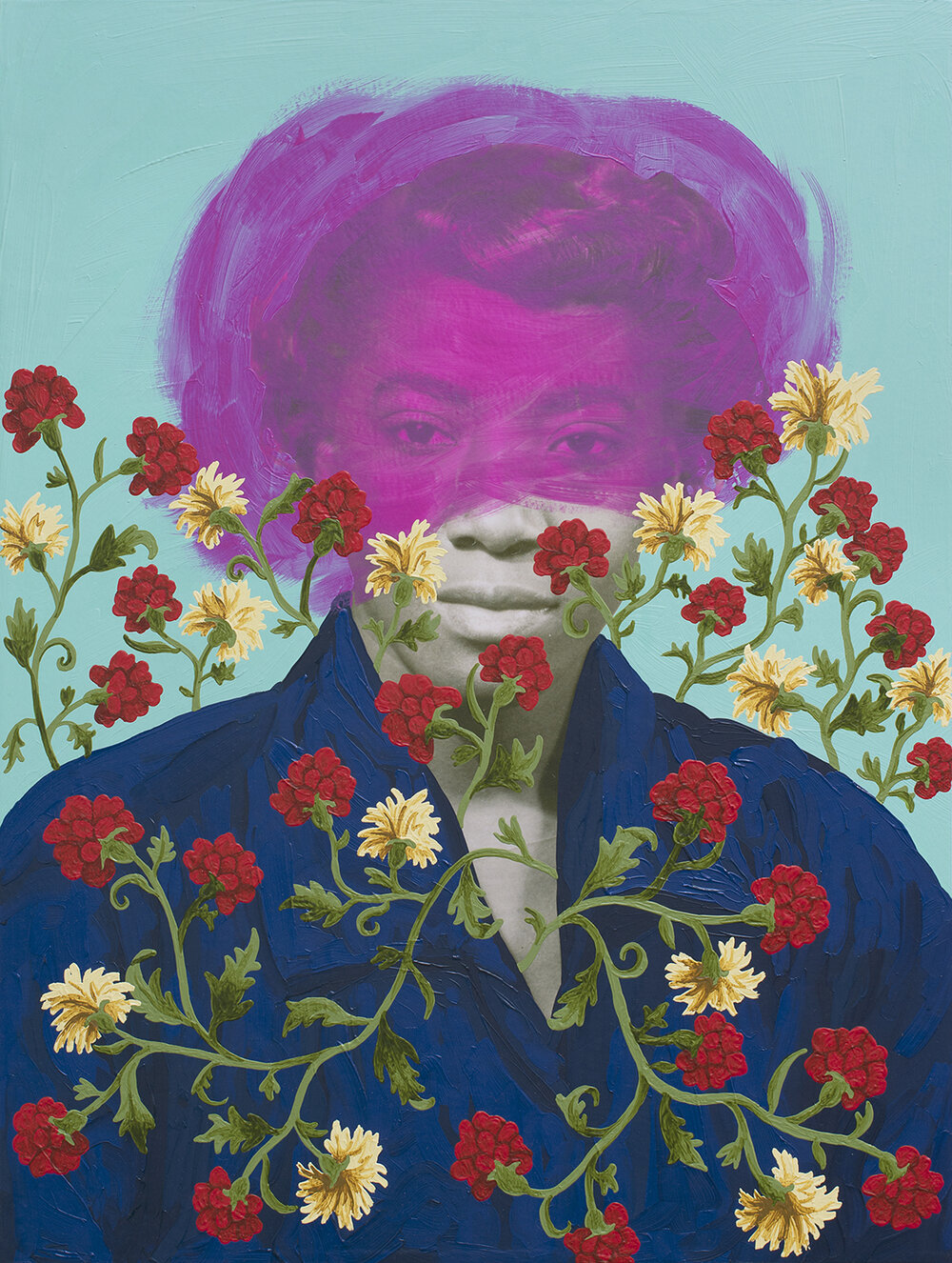A painting that took an old photograph of a woman and painted over it with a blue shirtdress, flowers, and a transparent pink smear around her face. It almost feels like a saintly portrait, but not quite.