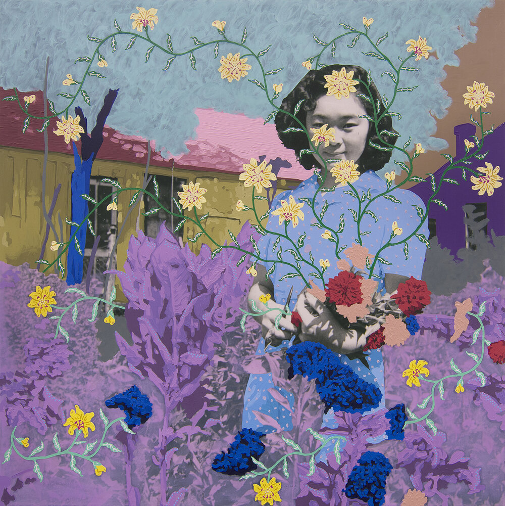 A painting by Daisy Patton that took an old black and white portrait of a young woman and painted over it, putting her in a magical garden.
