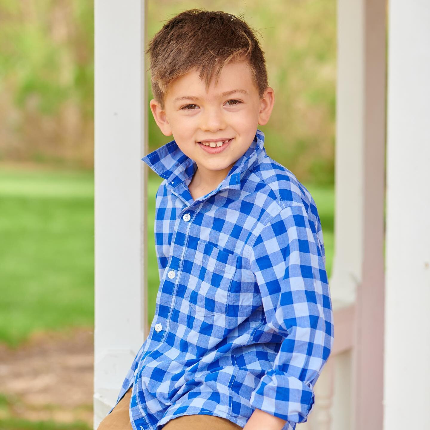 """Smiley Max. 💙 Serious Max.  This little guy is ready for tball season, likes to play chess & can inhale ice cream like no one else! He is growing too fast! Must get me some """"no grow spray"""" to keep him little forever! 😝  Gorgeous """"senior portraits"""" by my friend @meganngalehouse!"""