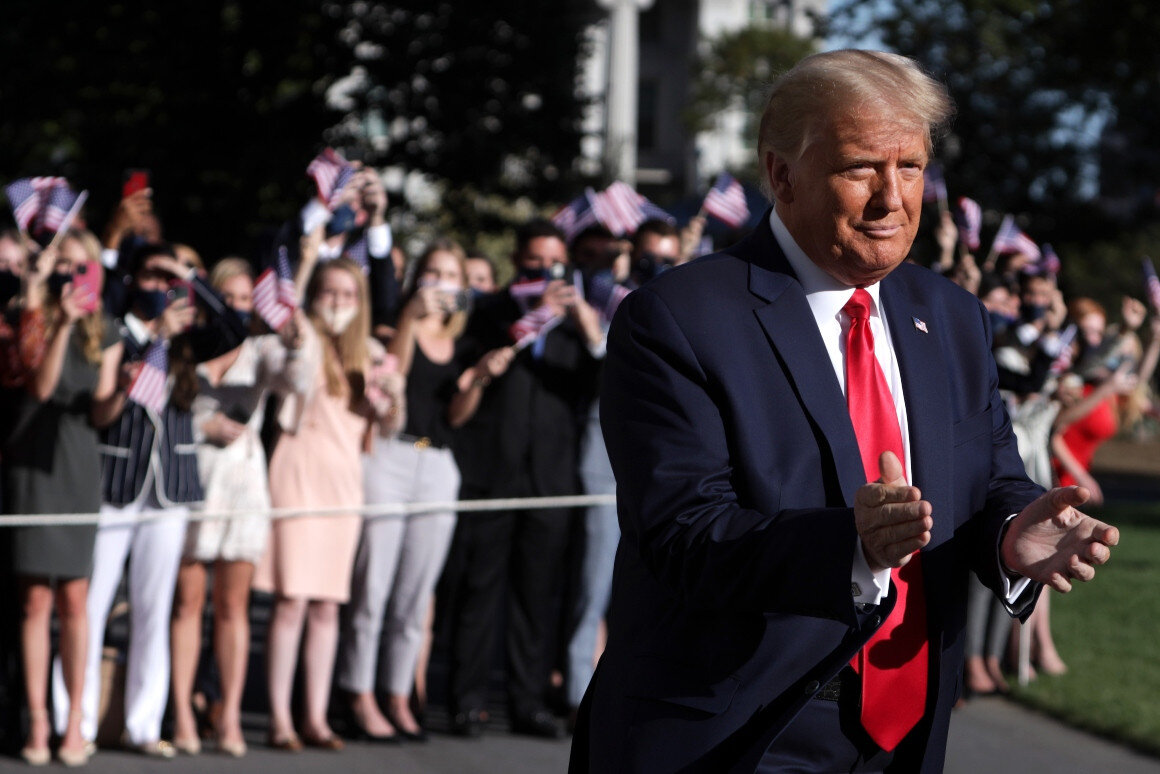 U.S. President Donald Trump comes out from the residence as supporters react prior to a Marine One departure from the White House Oct. 14, 2020 in Washington, DC. | Alex Wong/Getty Images - https://www.politico.com/news/magazine/2020/10/15/trump-derangement-syndrome-429527