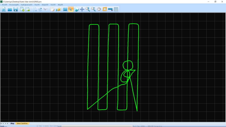 Fig. 5 Trayectoria y orientación ya procesada.