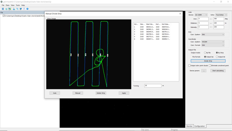Fig. 6 Selección de las líneas de vuelo que queremos utilizar para la generación de la nube de puntos.