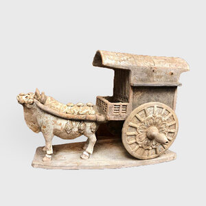 A Painted Red Pottery Model of a Bullock and Cart