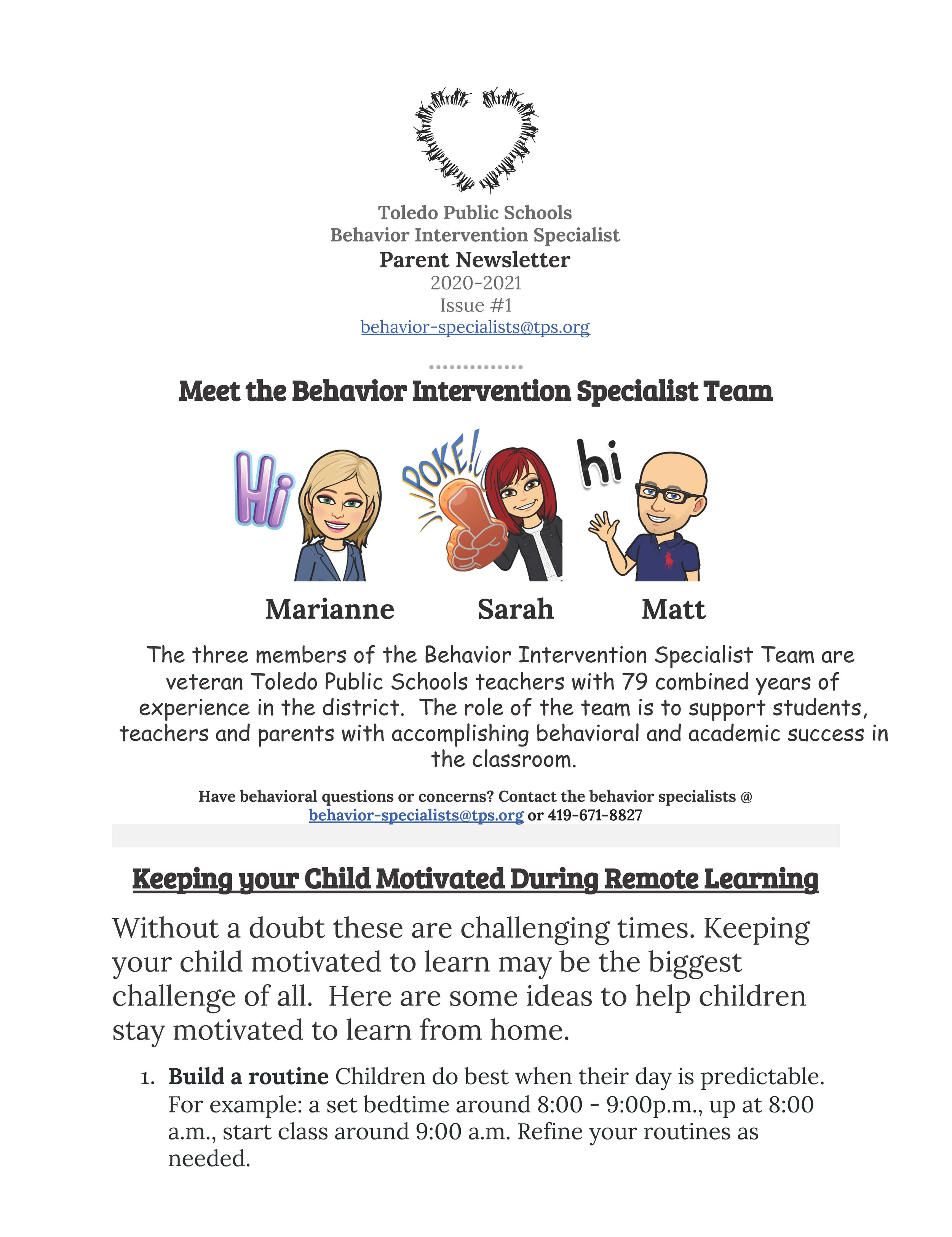 Behavior Intervention Specialist Newsletter — Grove Patterson Academy