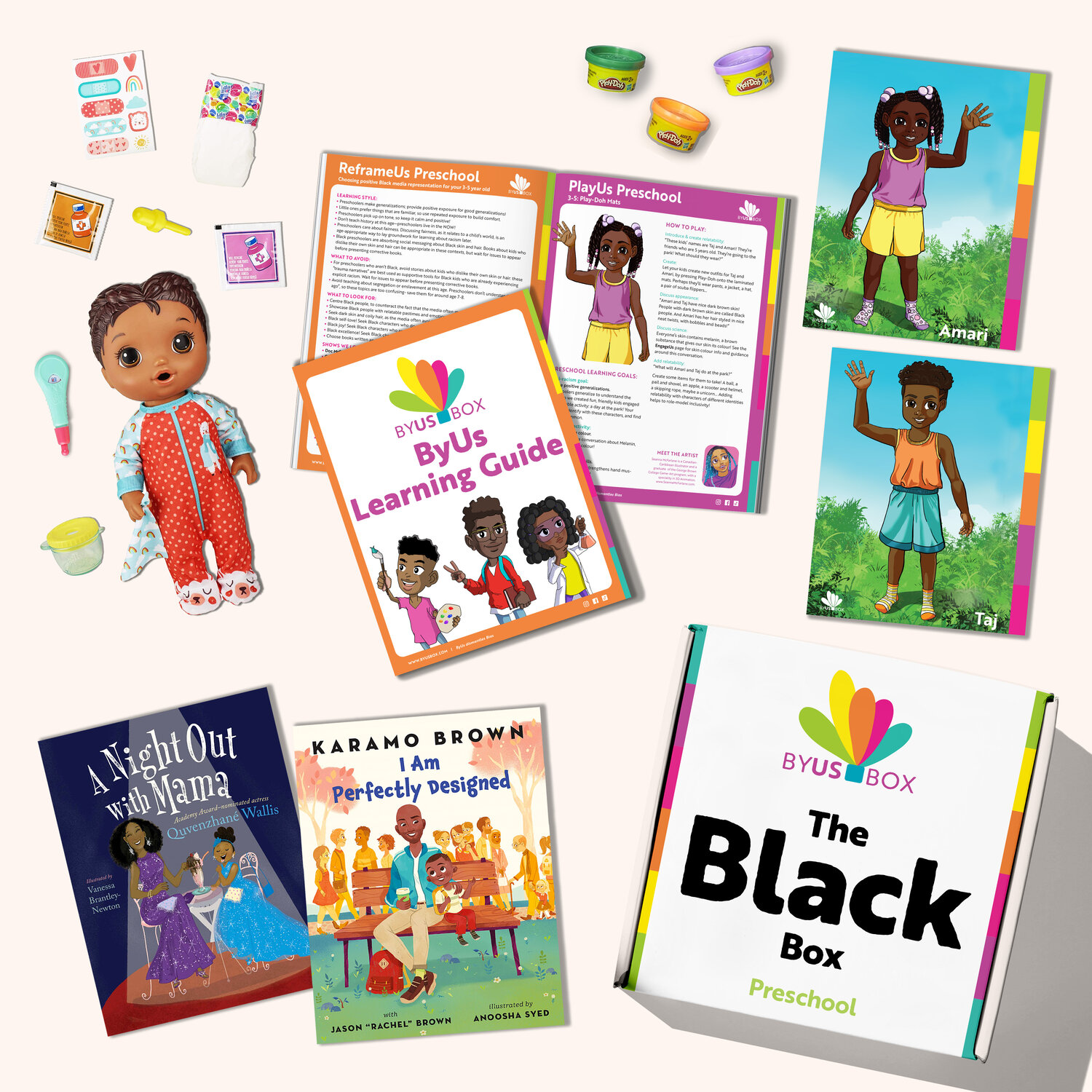 ByUs Box - Sample Items (actual items may differ slightly but will be equivalent in value) - Black Box Preschool - November 2020. Composite image made by Zainab's Echo