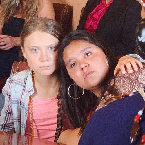 Tokata Iron Eyes with fellow climate activist Greta Thunberg. (Courtesy of Tokata Iron Eyes)