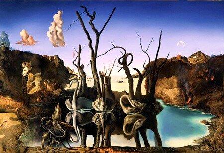 Cisnes que se reflejan como elefantes, 1937, Salvador Dalí