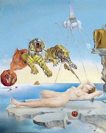 Sueño causado por el vuelo de una abeja alrededor de una granada un segundo antes de despertar, 1944, Salvador Dalí