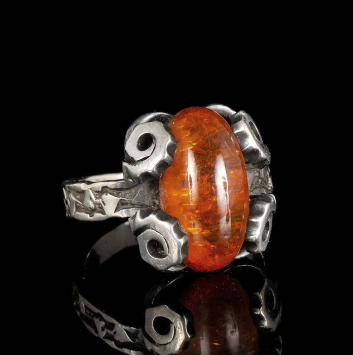 Deodat Kleist 1960s German 835 silver and amber Ring