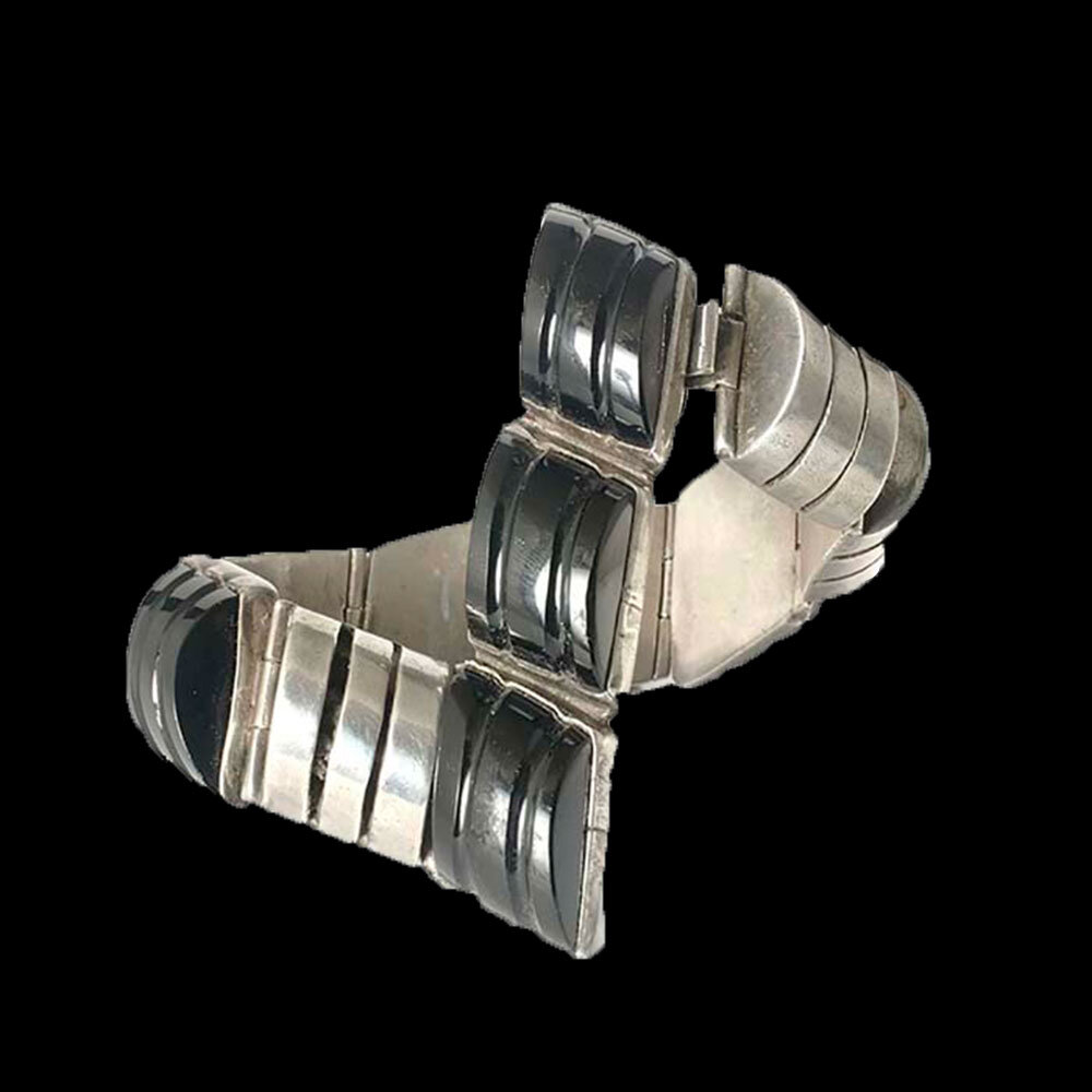 Deco Mexican silver and black onyx Bracelet