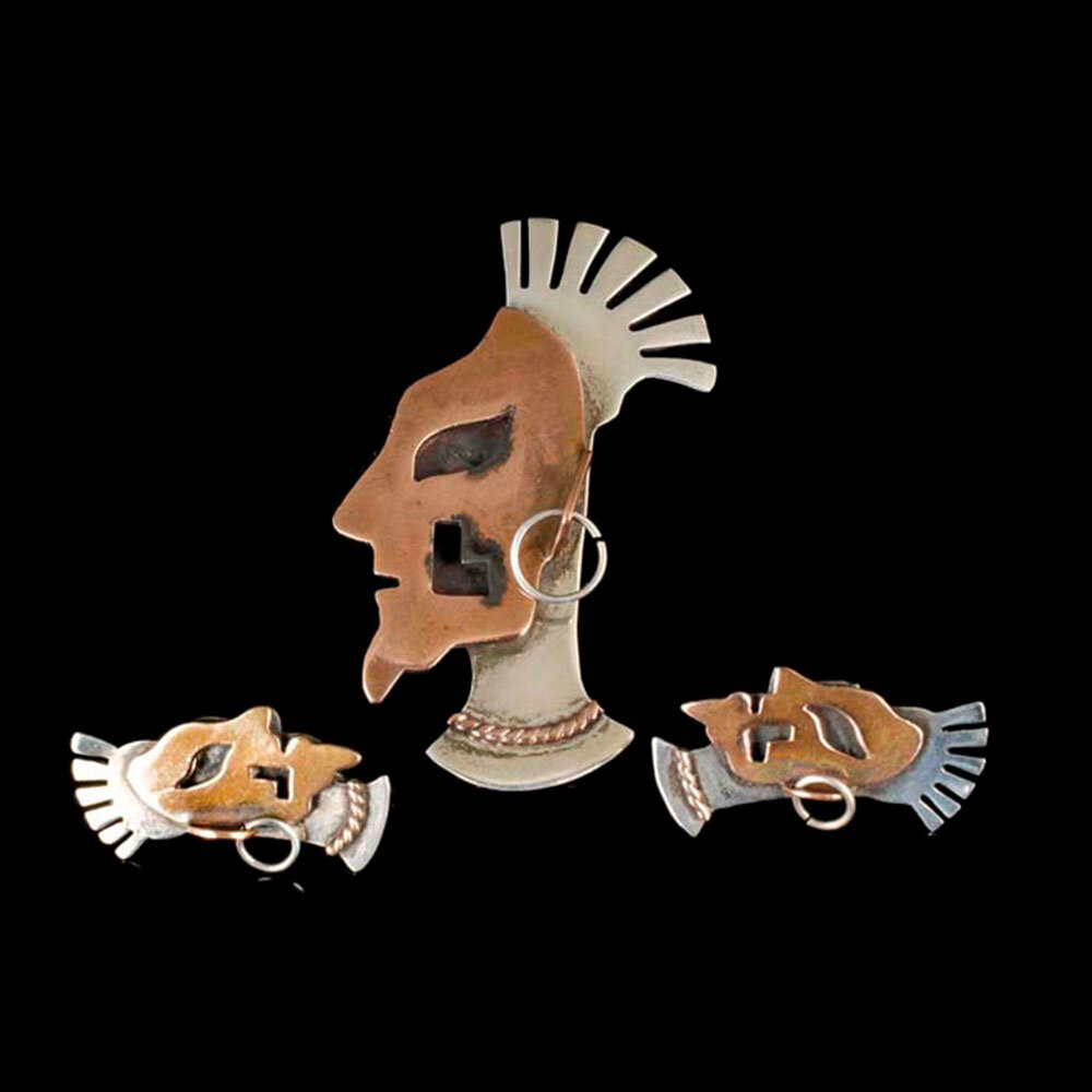 Modernist Mexican silver copper figural Brooch and Earrings