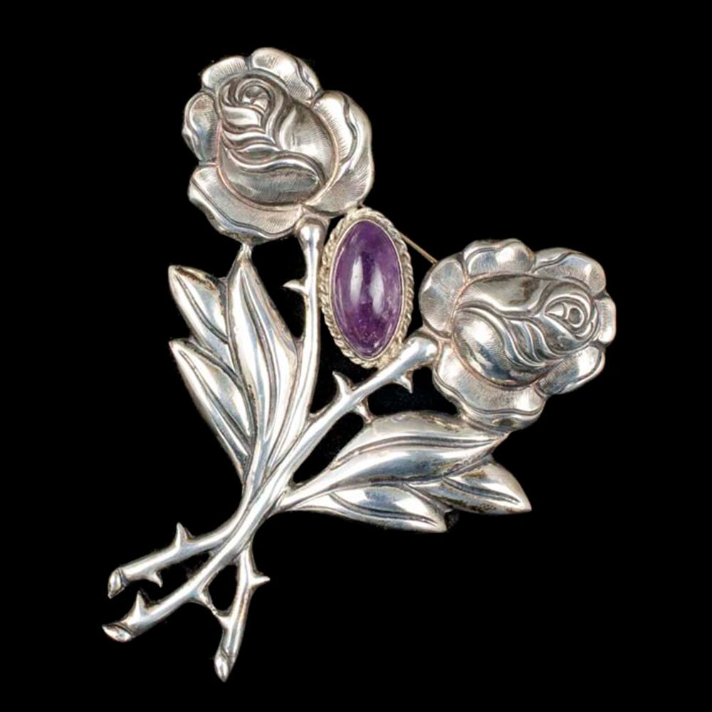 Mexican Deco silver amethyst double rose Pin Brooch