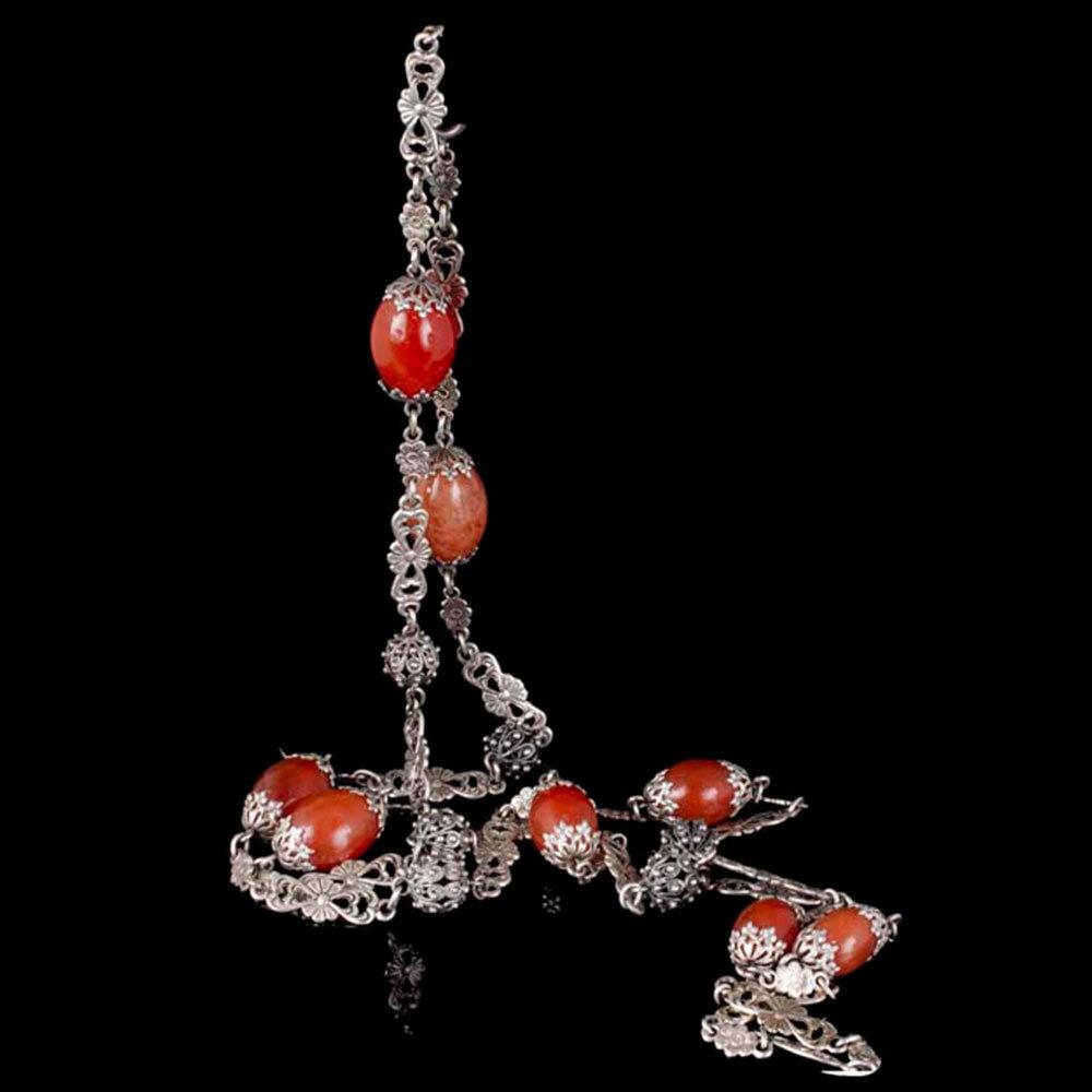 Peruzzi style Italian silver and carnelian Chain Necklace