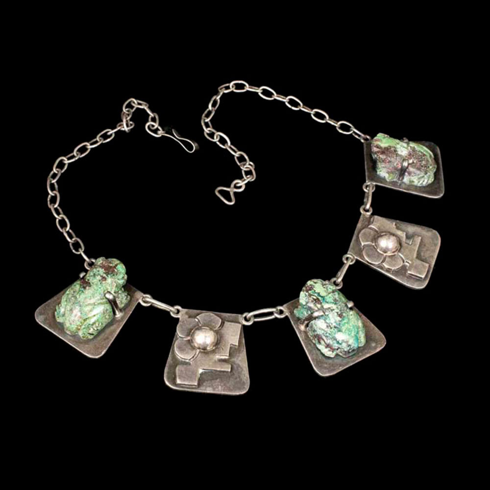 """Carmen Beckmann Mexican silver stone """"frogs"""" Necklace"""