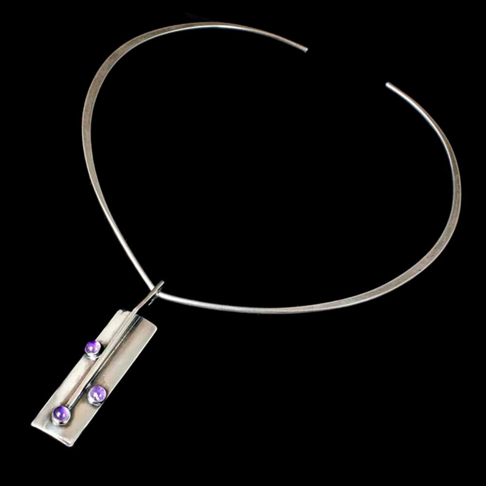 N E From Denmark modernist silver and amethyt Pendant Necklace with Neck Ring
