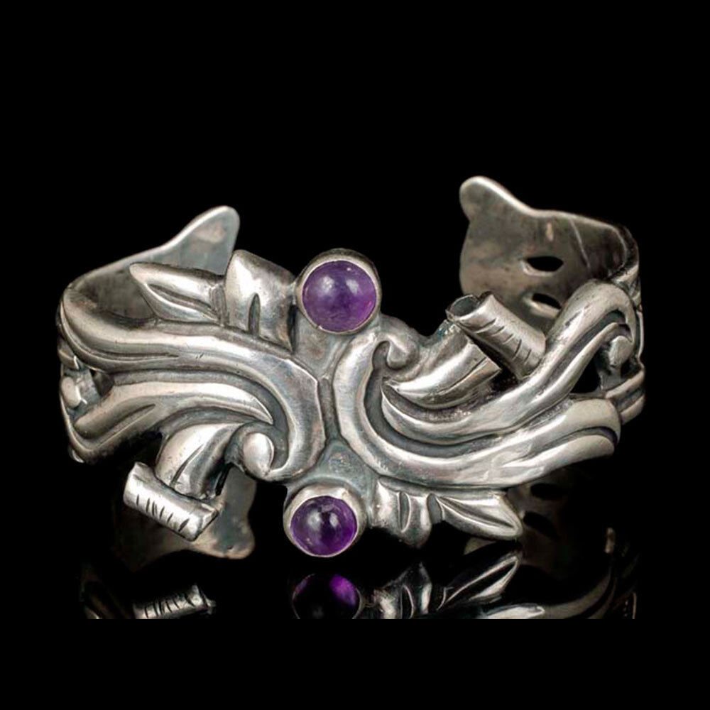 Mexican Deco silver and amethyst Cuff Bracelet