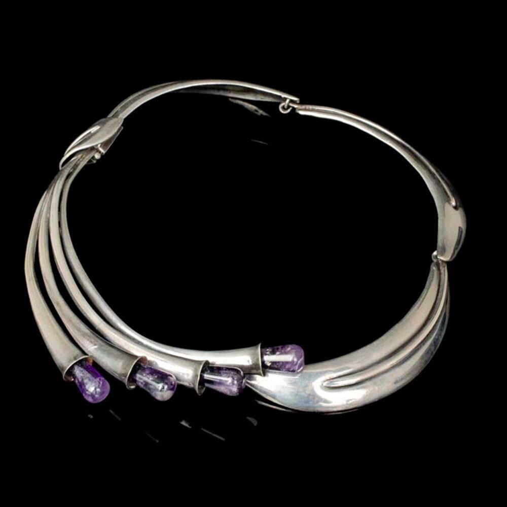 rare Antonio Pineda Mexican 970 silver amethyst cluster Necklace