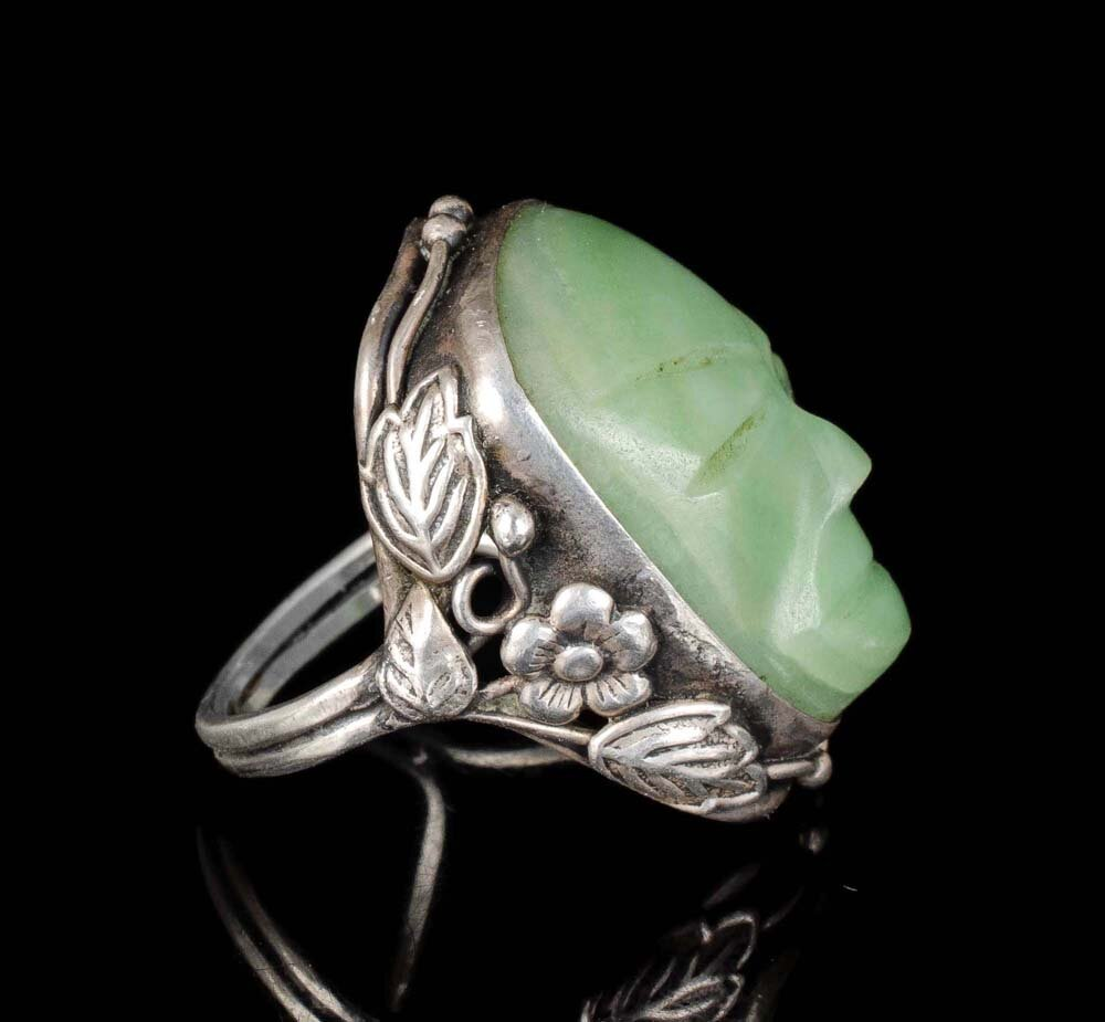 """Mexican Deco silver carved stone """"mask"""" Ring"""