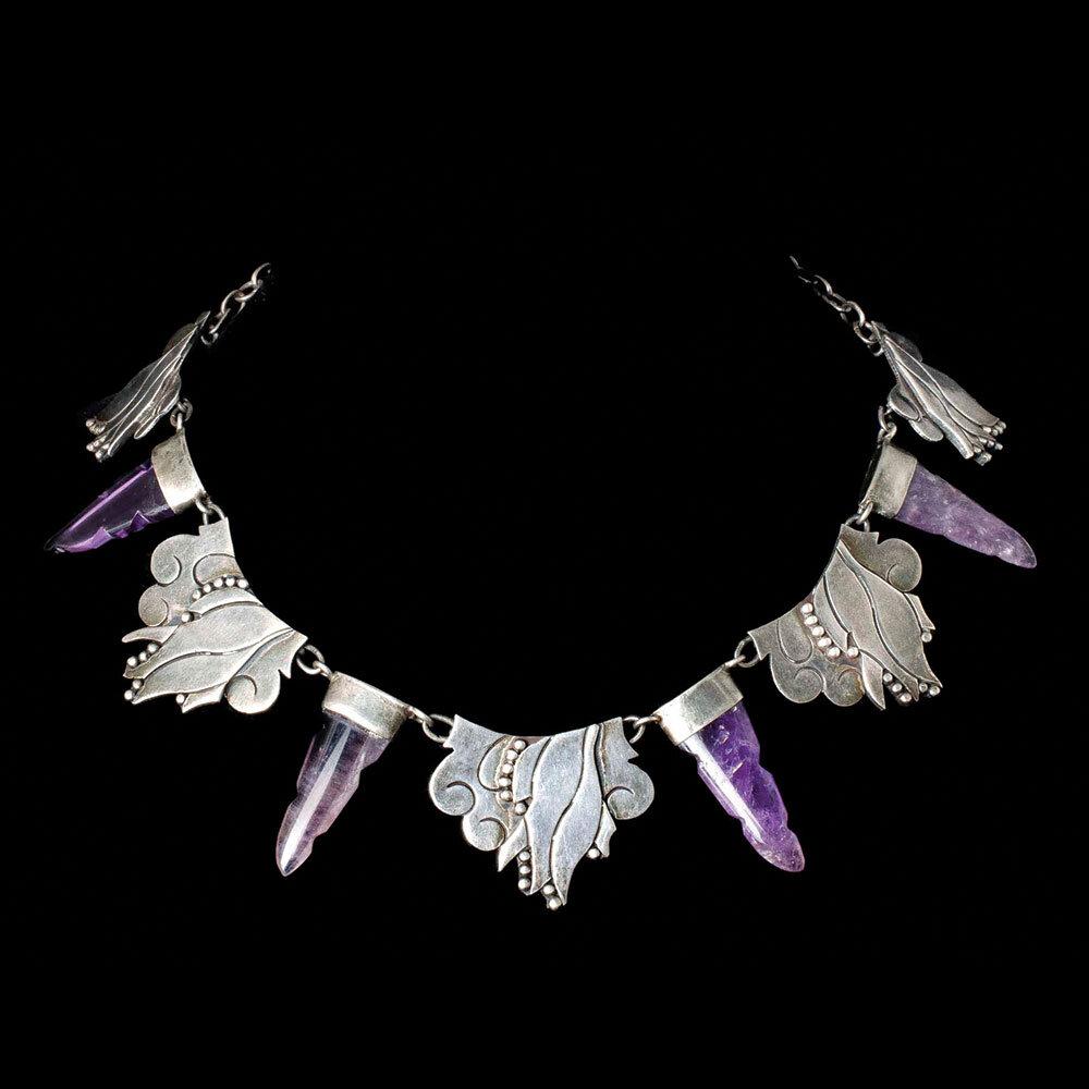 "Carmen Beckmann Mexican silver amethyst ""daggers"" Necklace"