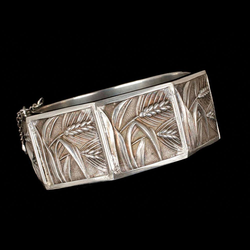Topazio Deco Portuguese 835 silver hinged Bracelet ~ harvest wheat motif