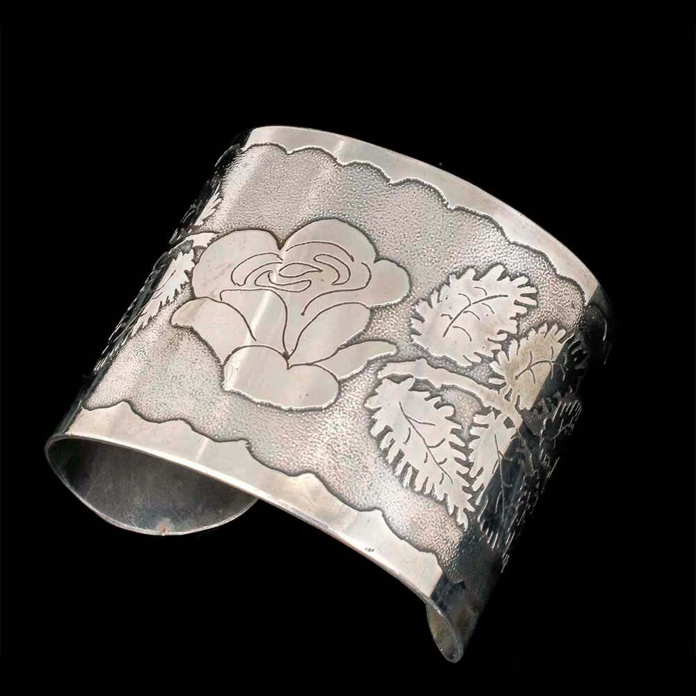 wide Arts and Crafts sterling silver rose Cuff Bracelet