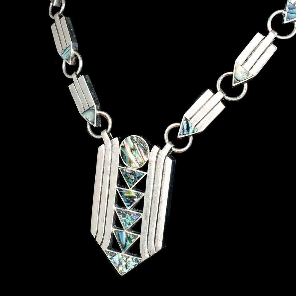 """Mexican Deco silver and abalone Necklace ~ Spratling """"arrows"""" design"""
