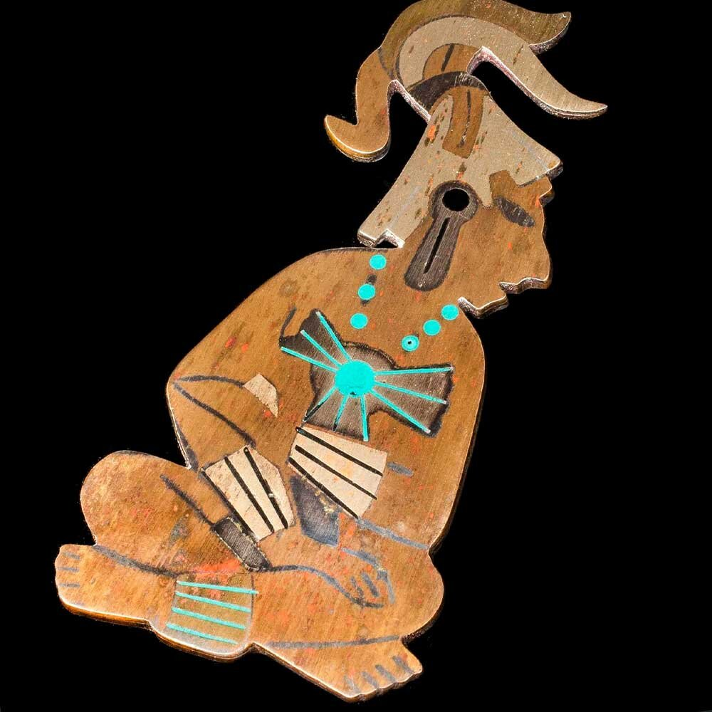 Mexican mixed metals figural Pendant ~ King Pakal of Palenque