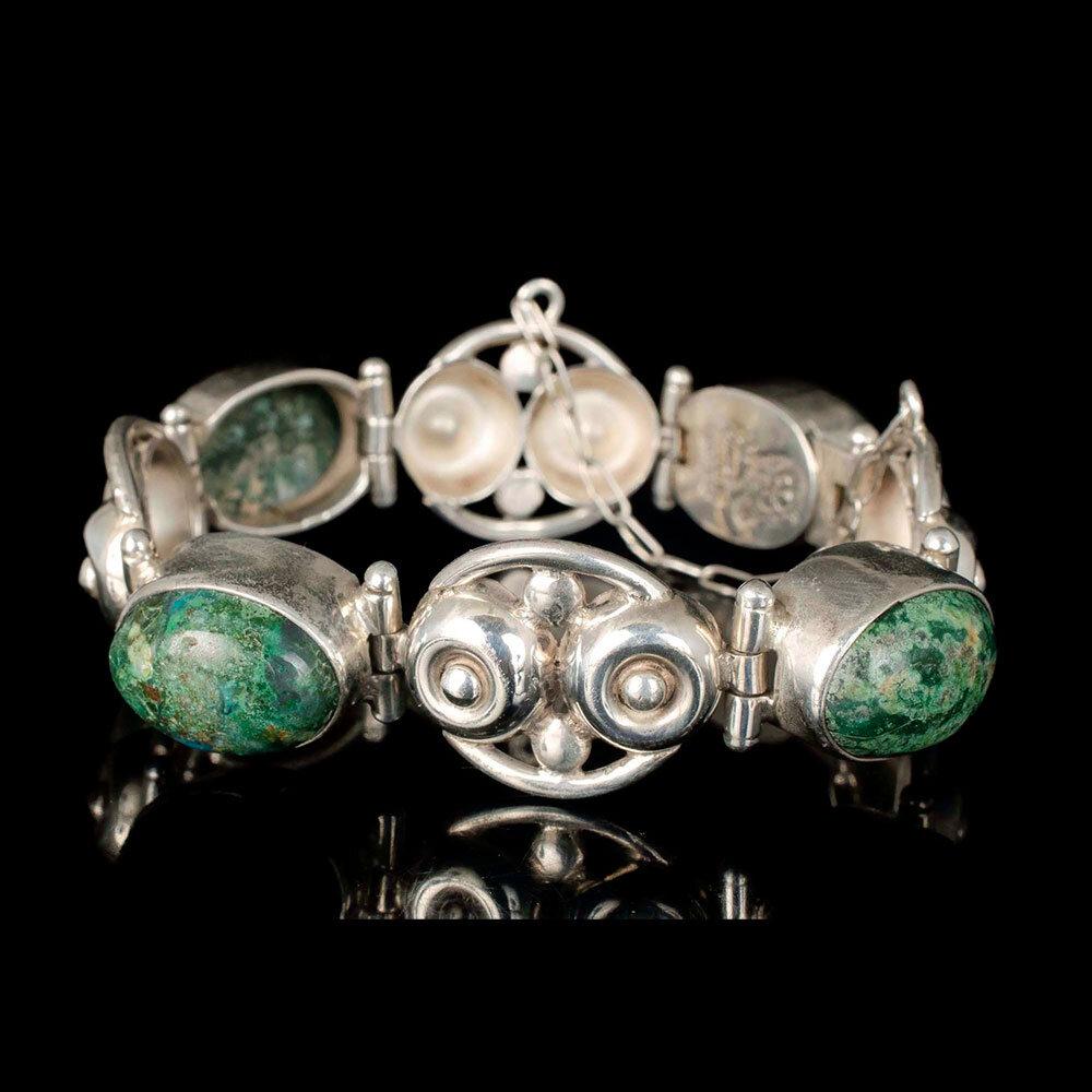 "Los Ballesteros Mexican silver agate ""dimpled dot"" Bracelet"