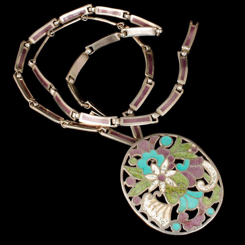Jaime Quiroz Alba Mexican silver enamel Necklace