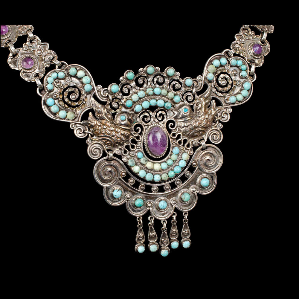 Rivera Mexican silver jeweled doves Necklace