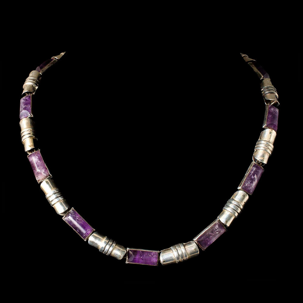 Beto Mexican silver amethyst modernist Necklace