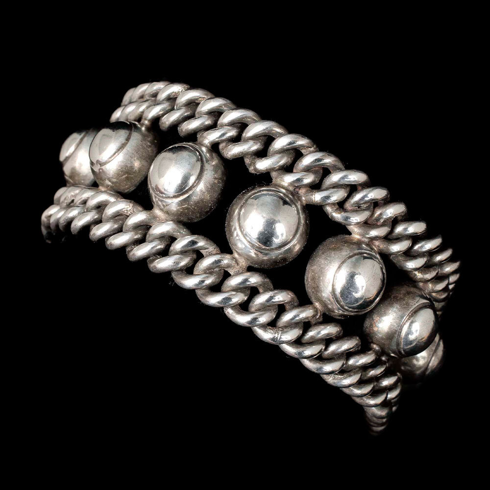 wide Mexican Deco silver bead and chain Bracelet