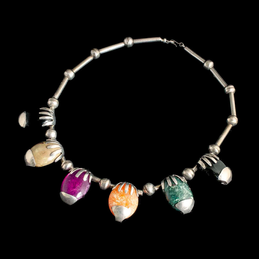 colorful Mexican modernist multi-stone silver Necklace