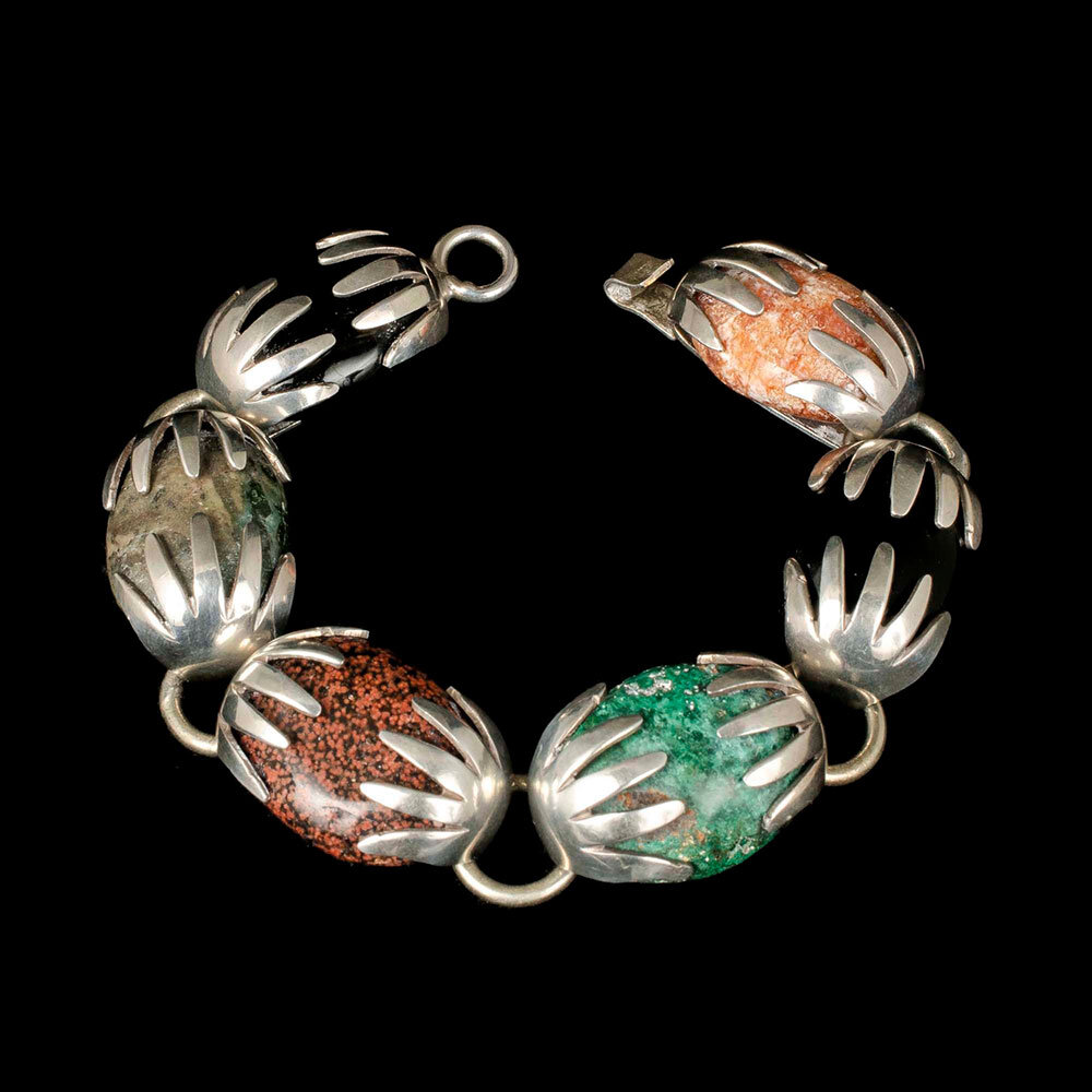 Mexican modernist silver multi-stone Bracelet