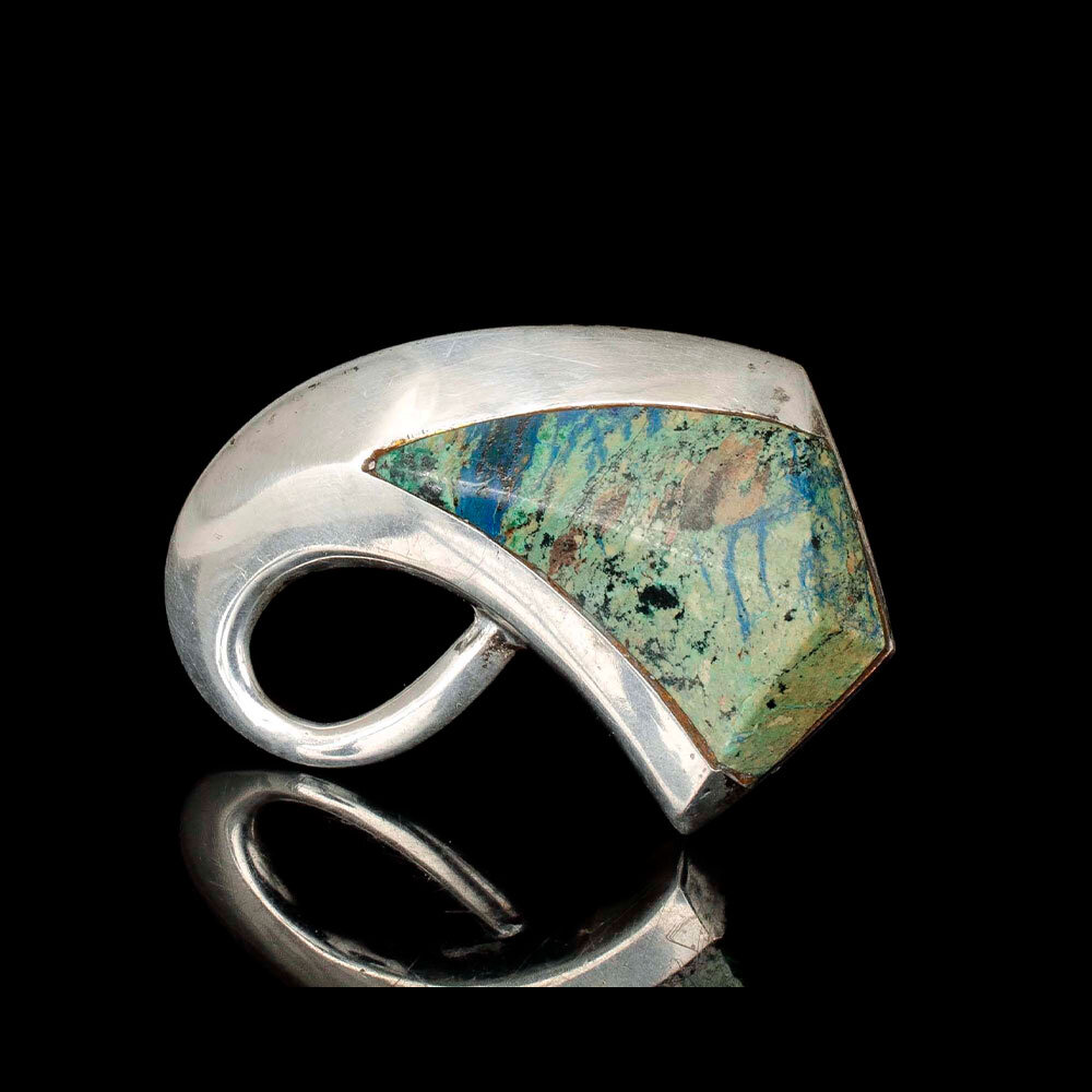Enrique Ledesma Mexican silver azur-malachite Brooch