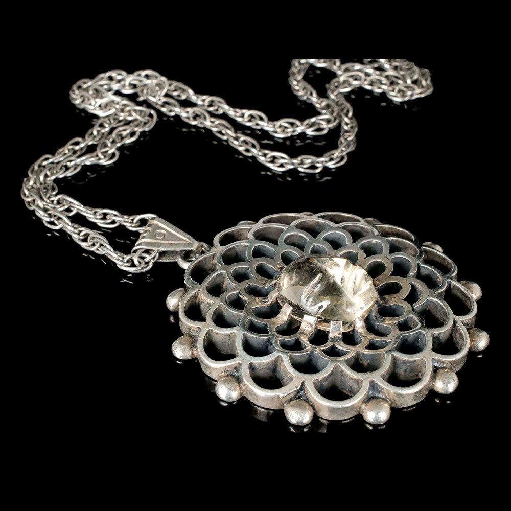 Los Ballesteros Mexican silver lemon quartz mask Necklace