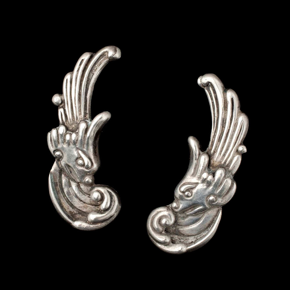 """Los Castillo Mexican silver """"North Wind"""" Earrings"""