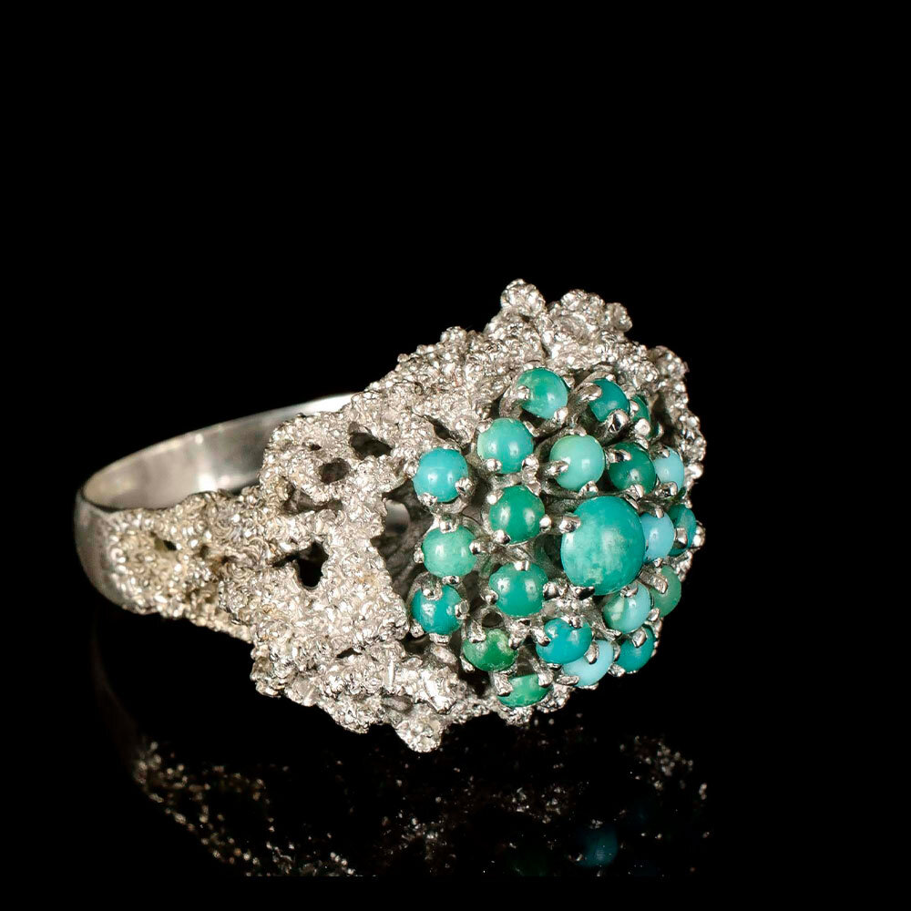 Mexican silver turquoise cluster brutalist Ring