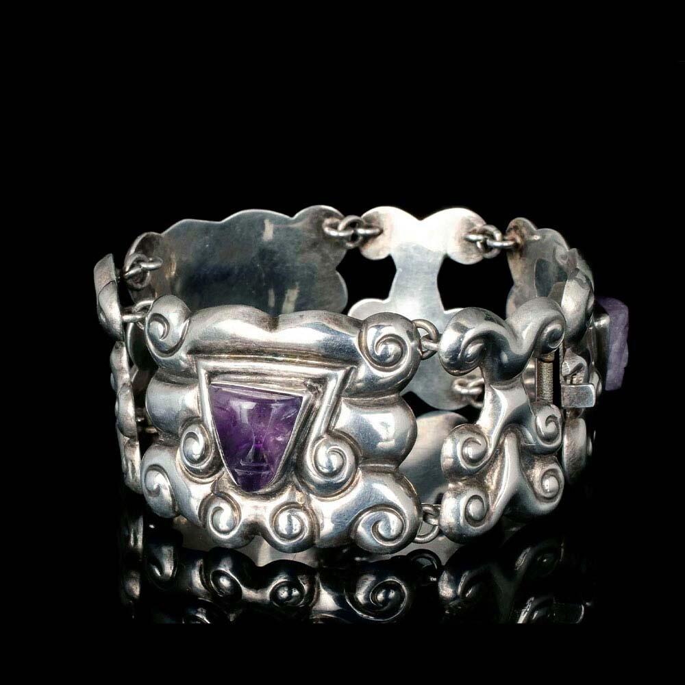 """FarFan Mexican silver and amethyst """"mask"""" Bracelet"""