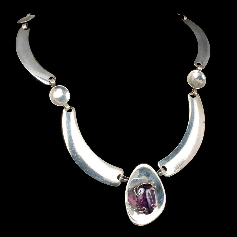 Ormex Mexican silver amethyst modernist Necklace