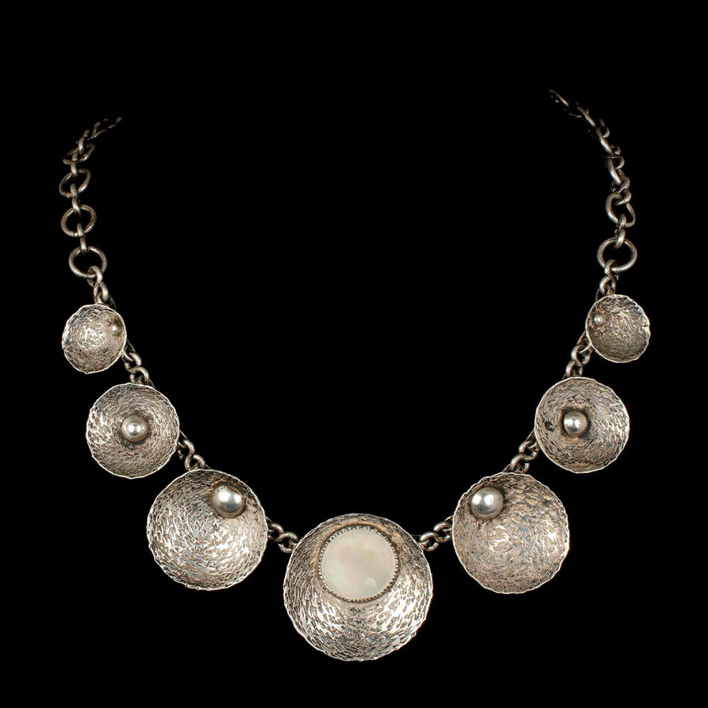 European / Polish modernist silver mother of pearl Necklace